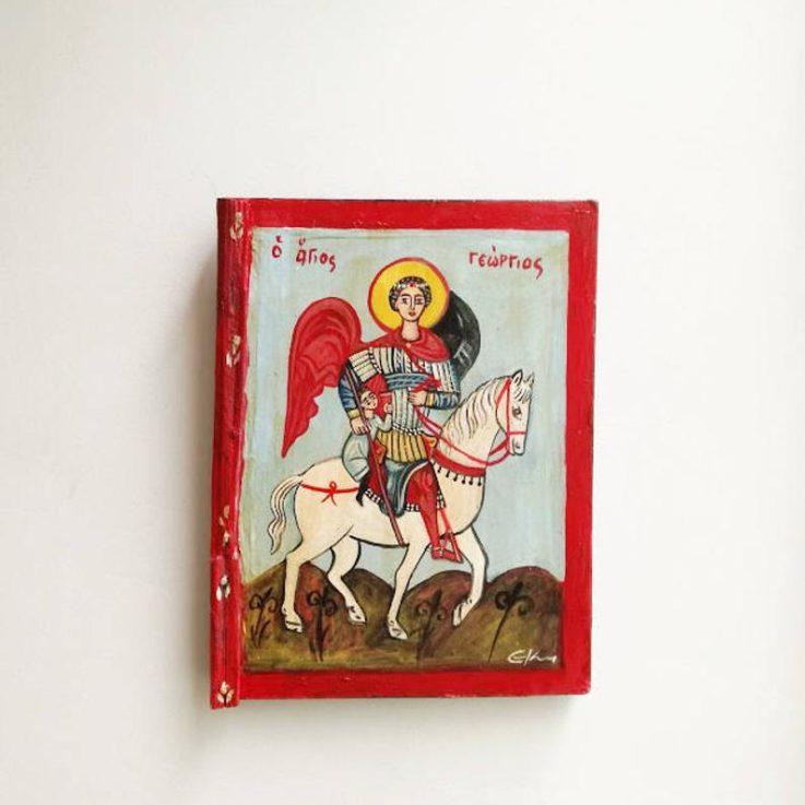Saint George icon, vintage, St. George folk art icon, Greek St. George folk painting on salvaged wood