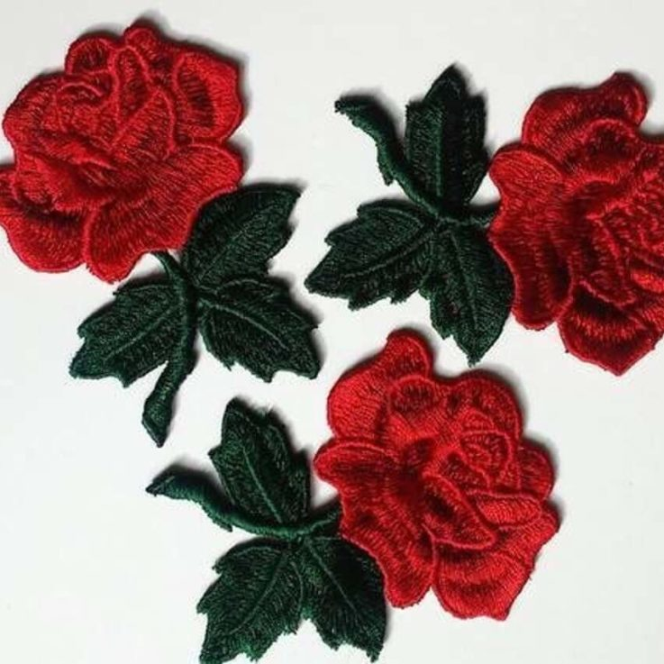 Sew On Rose patch, Red Embroidered Big Flower appliques