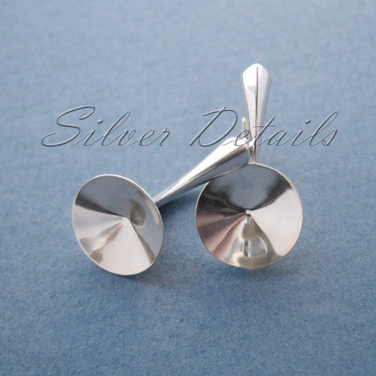 Sterling Silver Leverbacks for Swarovski Crystals Rivoli 12mm