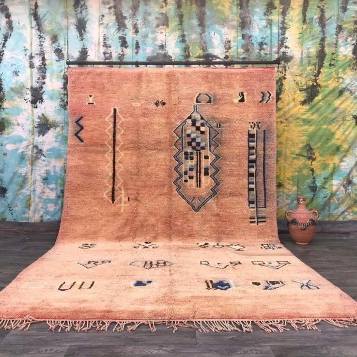 Stunning wool Vintage Moroccan rug Handmade Boujad Boujaad Rug 8X12 Morocco rug wool rug beni ourain morocco rug hand made rug