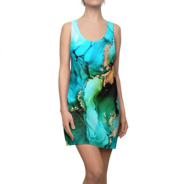 Tank Dress, Dress, Racerback Dress, Green Dress, Green Tank Dress, Art Dress, Art Tank Dress, Sleeveless Dress, Turquoise Dress