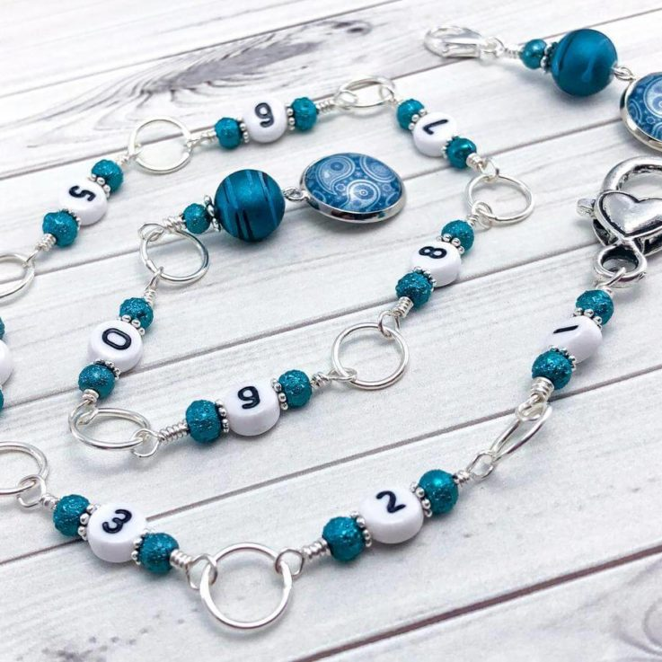 Teal Paisley Knitting Row Counter Chain, Counts 0 to 99, Gifts for Knitter, Progress Keeper
