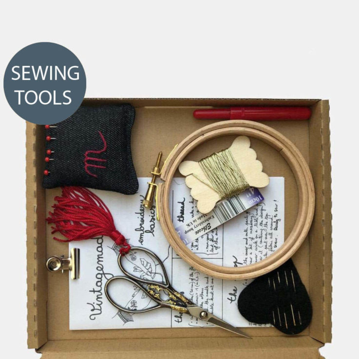 The Ultimate Modern Embroidery and Hand Sewing Gift Box, all my favorites in one! Needlework Paraphernalia
