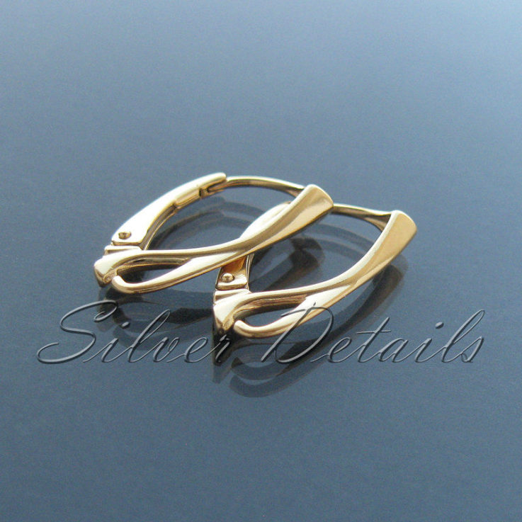 Top Quality 24k Gold Plated over Sterling Silver Leverbacks 925 Earring
