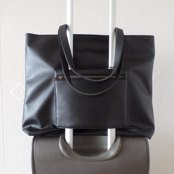 Vegan leather tote bag, Black leather tote, Luggage handbag with a trolley sleeve, Travel duffle bag with trolley sleeve