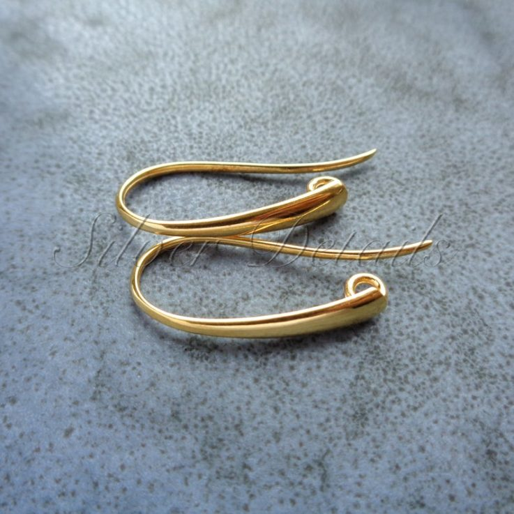 Yellow gold platedl 925 Sterling Silver French Wire Earring Hooks earring