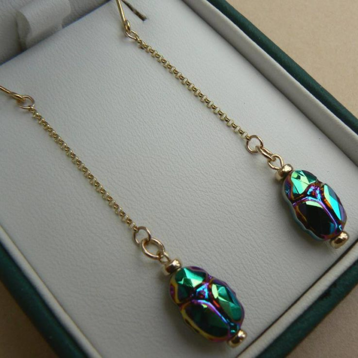 9ct Gold Deco Egyptian Revival style chain drop earrings with Swarovski elements Scarabs