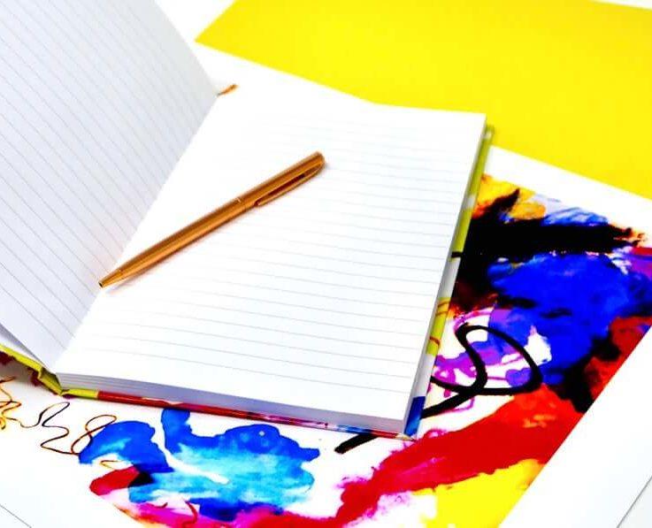 A5 Hardback Notebook - Vivid Colourful Contemporary Original Design - 160 Lined Pages