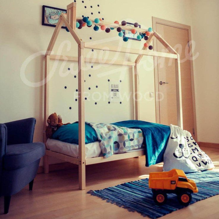 Children bed, Baby bed Wood bed frame bed Twin size Montessori house bed Toddler bed house bed toddler twin house bed frame tent bed