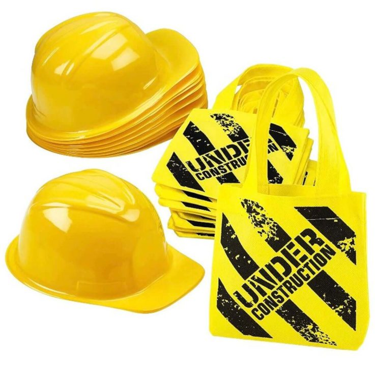 Construction Party - Construction Party Favor Hats (12 count) Goody Bags (12 count) Construction Birthday Construction Party Decorations