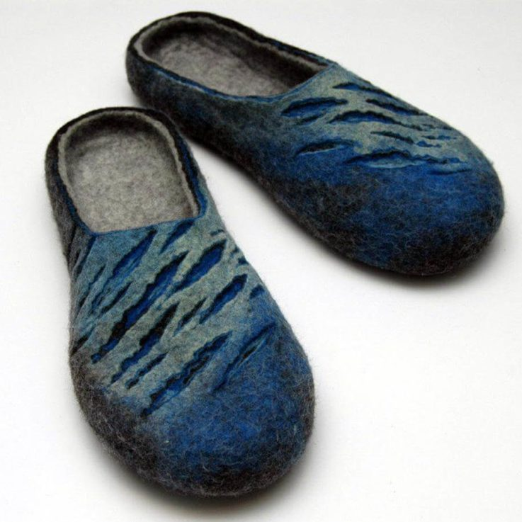Felted slippers for men - in blue, grey colors