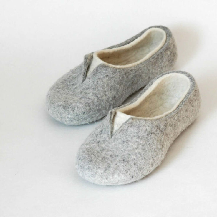 Felted slippers for women - lovely natural womens house shoes in colors of white and grey
