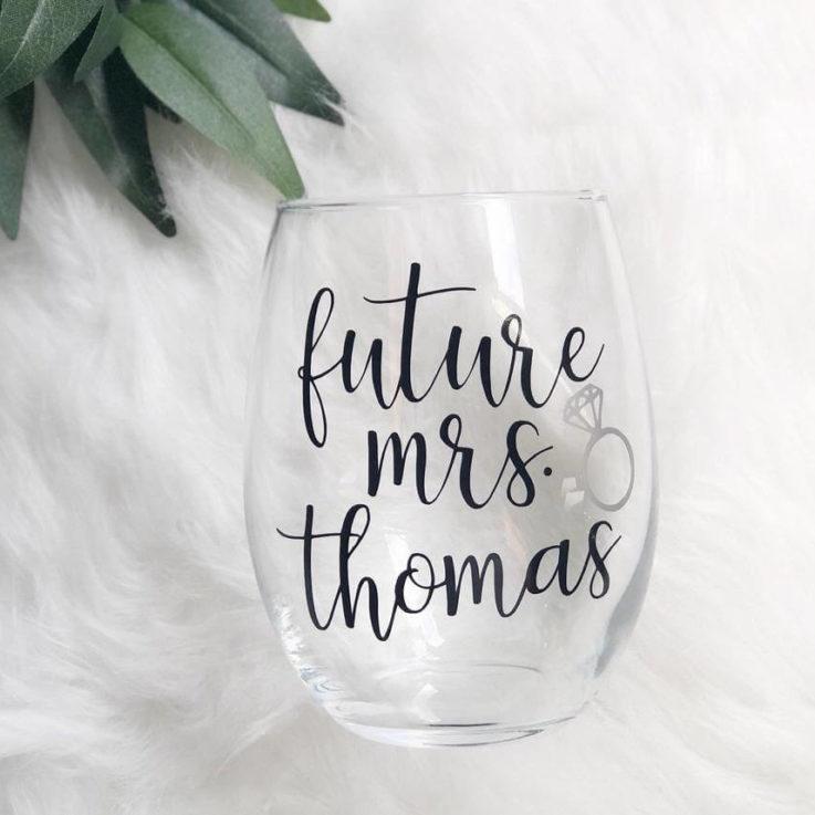 Future mrs wine glass- personalized future mrs wine tumbler glass- bride wine glass- engagement gift idea- future mrs gifts- bridal wine