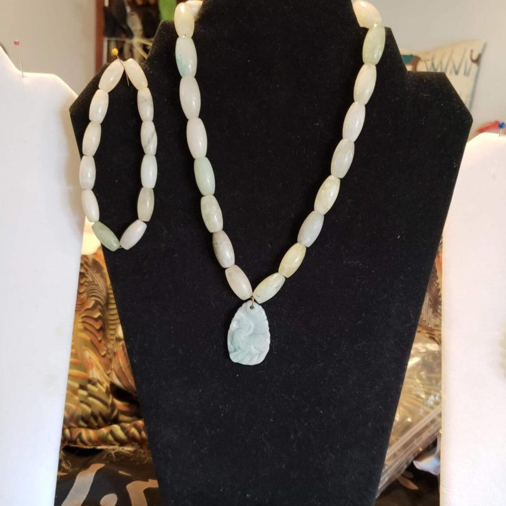 Genuine Jade, Oval shaped Jade Beads with Jade Chinese Zodiac Ram