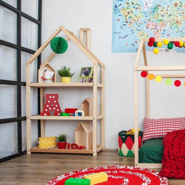Kids bedroom house shaped shelf or wooden house shelf, nursery shelf