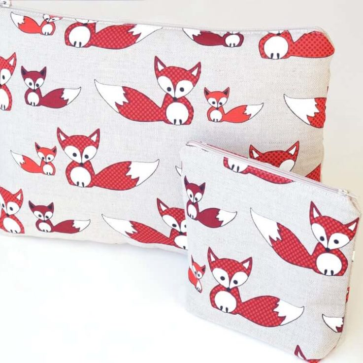 Linen MacBook case and pouch set with fox pattern Custom sizes Linen Macbook pro sleeve wih zipper, Macbook Air case, Laptop sleeve
