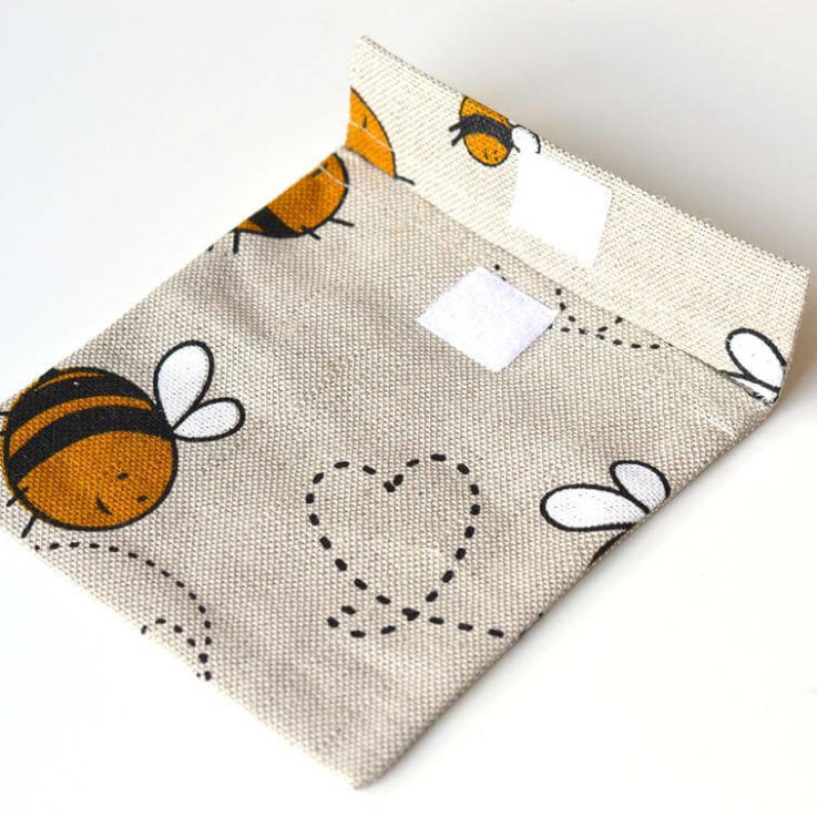 Linen sanitary pad pouch holder- Grey Bee Pouch medice or makeup case