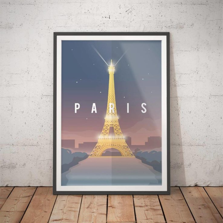 Paris Poster - Vintage Travel Poster - Teen Girl Room Decor Minimalist Art Prints Eiffel Tower Travel Art Deco Posters