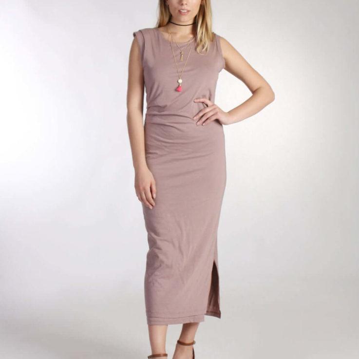 Pink Ruched Dress Boho Maxi Dress Midi Dress Side Split Dress