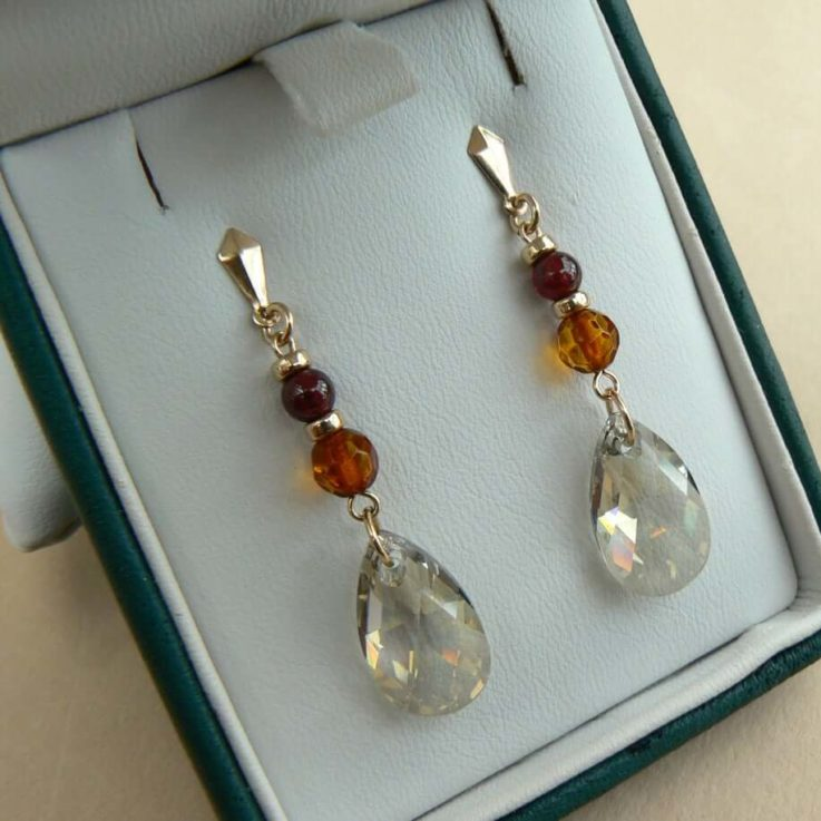 Retro style faceted Baltic Amber, Garnet & Silver Shadow crystal drop earrings in 14ct Gold Fill