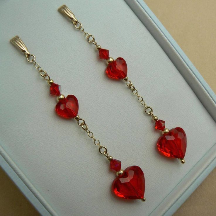 SALE - 9ct Gold long chain earrings with Swarovski elements Siam Red heart crystals