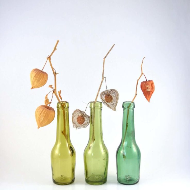 Set of 3 Green Bottles, Small Vintage Bottles, Instant Collection of Vintage Glass Bottles