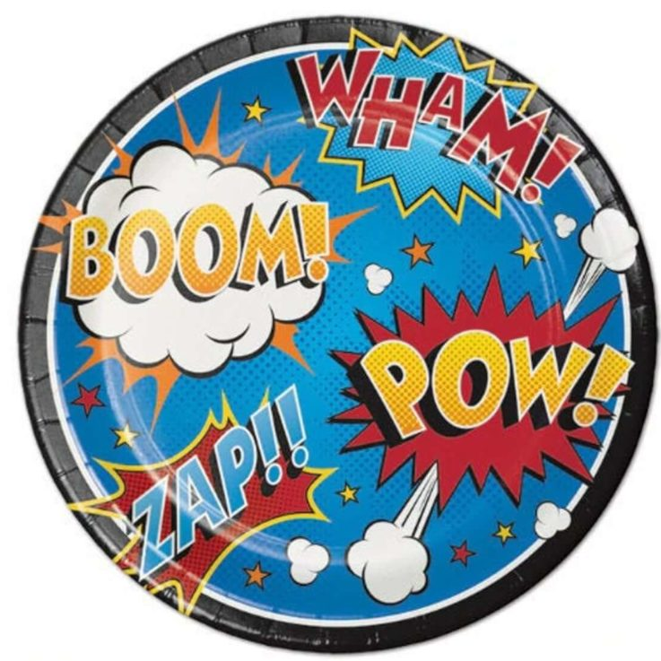 Superhero Birthday Party or Comic Book Birthday Party Plate