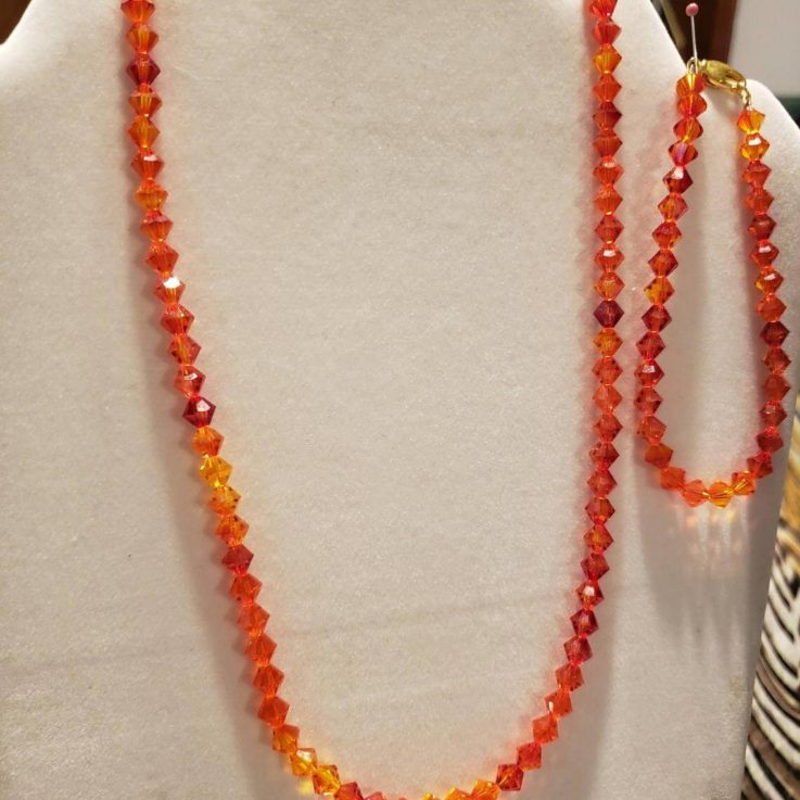 Three Piece Swarovski Crystal Set ( Fire Opals)