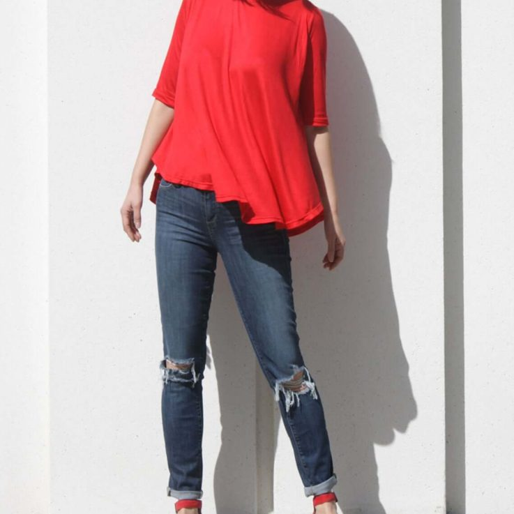 Tomato Red Swing Top with Elbow Length Sleeve, Boho Flare Top, Summer Tunic Top, Plus Size Shirt, Half Sleeve Office Top, Maternity Top