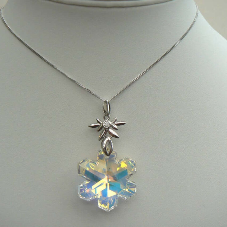 WINTER NECKLACE Large Christmas Snowflake OOAK Swarovski elements Aurora Borealis crystal Sterling Silver