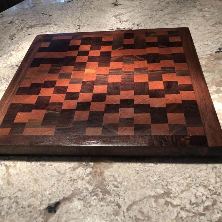 Walnut and cherry end grain cutting charcuterie board