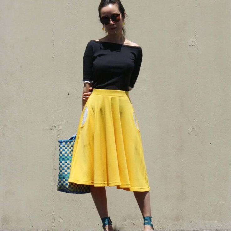 Yellow Full Swing Skirt with Pocket, Circle Midi Skirt, Plus Size Skirt, Swing Dance Skirt, Cotton Jersey Skirt, Summer Party Skirt