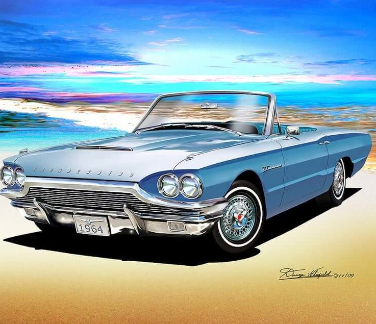 1964 Ford Thunderbird convertible art prints comes in 3 different colors