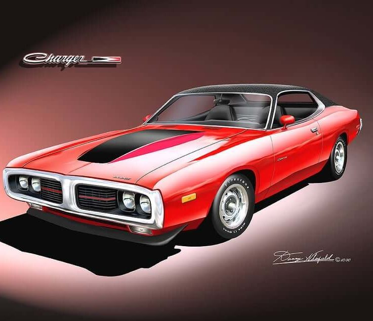 1973-1974 Dodge Charger art prints comes in 10 different exterior colors