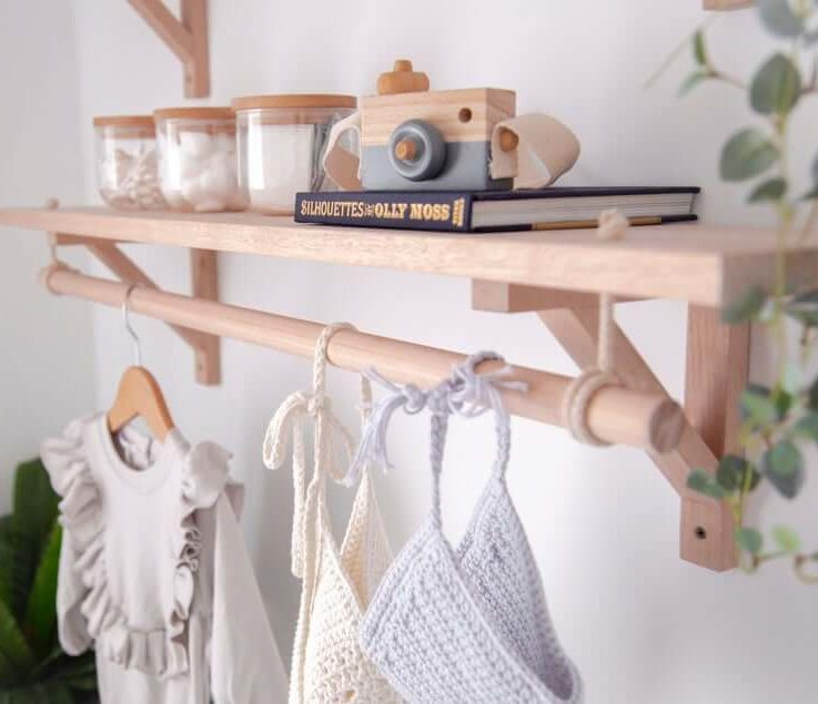 Bracket Shelf with Hanging Rod Wooden Nursery Shelving Timber Clothes Rack