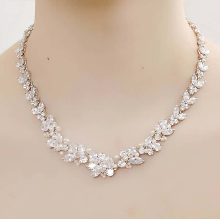 Bridal Silver Rhinestone, Freshwater Pearl, and Swarovski Crystal Wedding Graduated Necklace