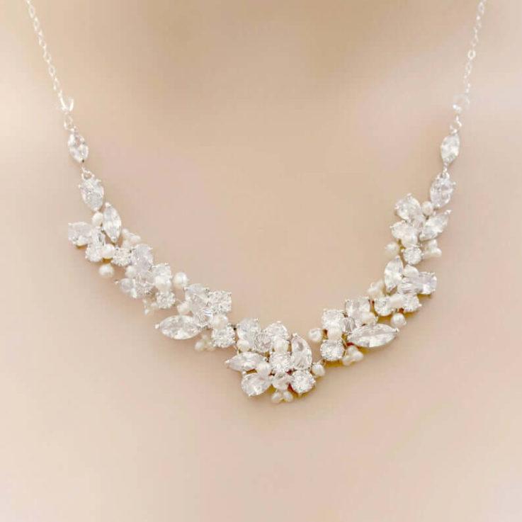 Bridal Silver Rhinestone, Freshwater Pearl, and Swarovski Crystal Wedding Necklace
