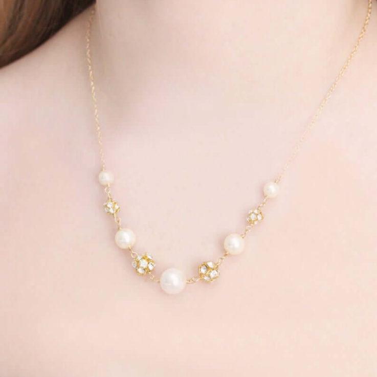 Bridesmaid Swarovski Pearl and Rhinestone Fireball Wedding Necklace