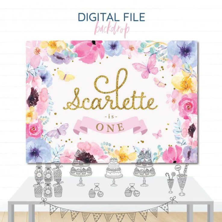 Butterfly Printable Party Backdrop, Colourful Floral Pastels, Printable Backdrop, Dessert Table Banner, Digital File