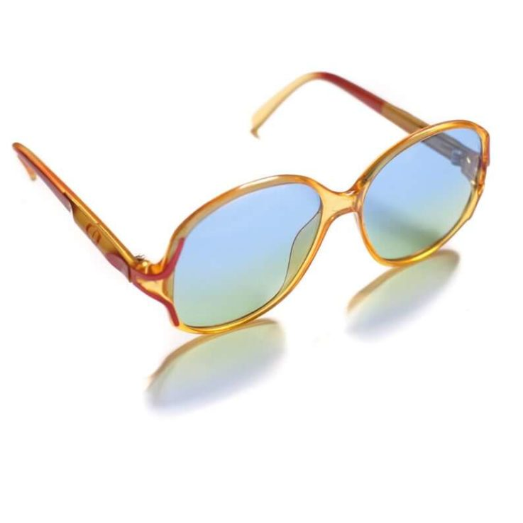 Christian Dior 2261 Vintage Womens Sunglasses for Her in Semi-Clear Yellow with Large Blue Gradient Lenses Oversized Big Sunglasses