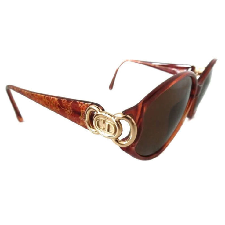 Christin Dior Sunglasses with Vintage Charm Mod 2850 Dior Oval Sunglasses Brown Mottle with Gold Details 80s Designer Sunglasses Womens