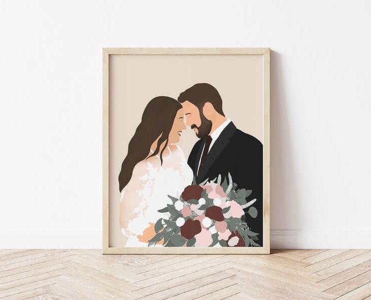 Custom 2 Person Wedding Illustration • Anniversary • Birthday • Bride and Groom • Bride and Bridesmaid • Valentines Day •
