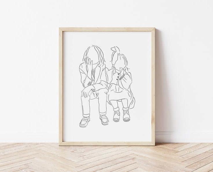 Custom Line Drawing, Black Ink, Minimal Art, Downloadable art, Custom Portrait, Gifts for Mums, Minimalist Art, Printable Art