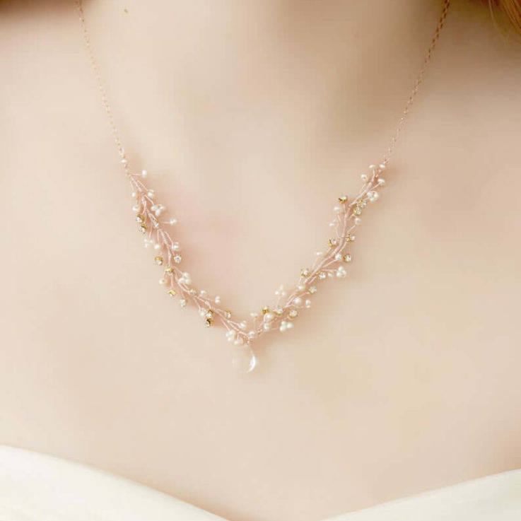 Delicate Rose Gold, Freshwater Pearl and Crystal Wedding Necklace
