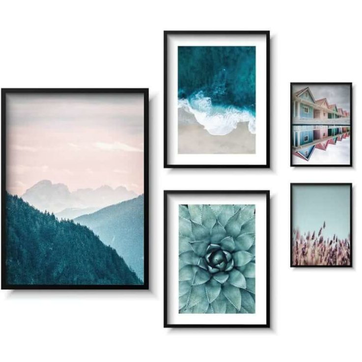 Gallery Wall Set, Nature Wall Art, Cactus flower, Bedroom Art, Pastel color posters, Pink and green, Set of 5 posters, Living room, Mountain