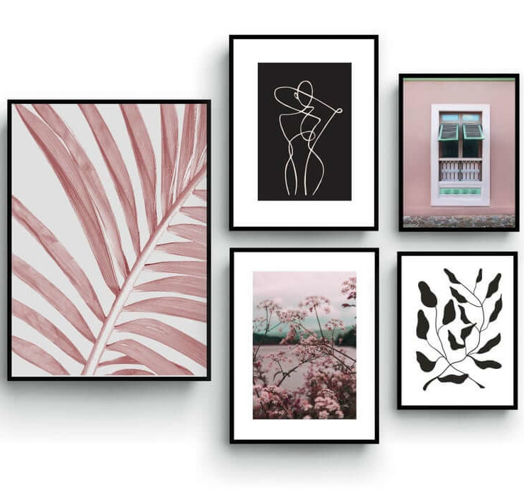 Gallery Wall Set, Nature Wall Art, Palm tree, Line Art, Bedroom Decor, Pastel color posters, Pink and Black, Set of 5 posters, Living room