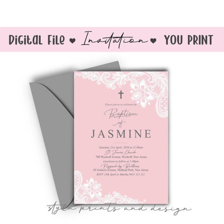Girls Baptism Invitation, Pink and white lace, Christening Invitations, Invitation template, Digital File