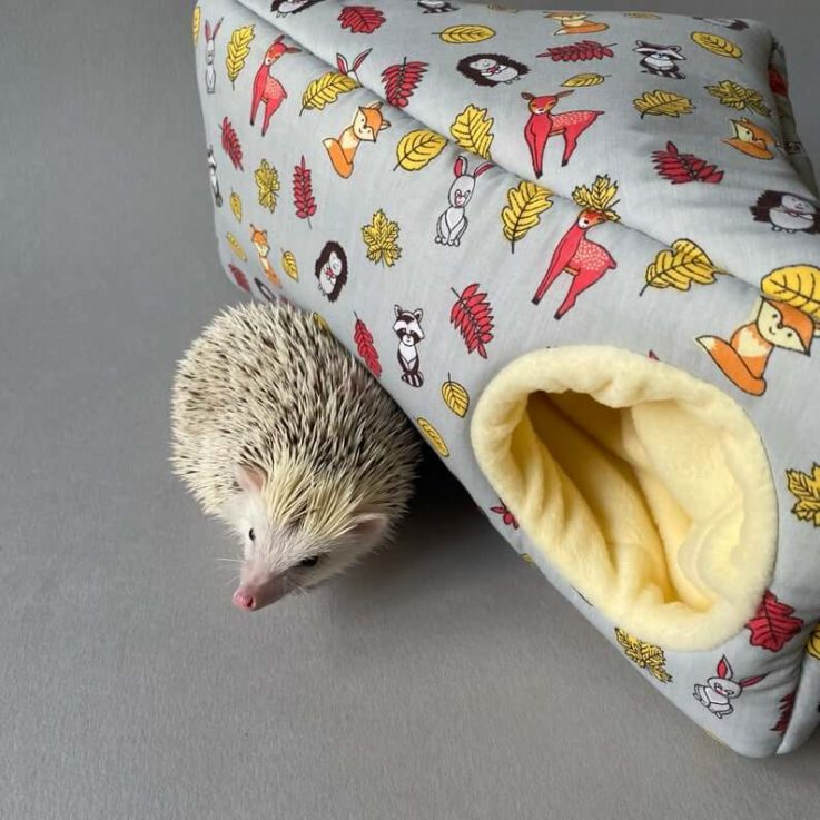 Grey Woodland corner house. Hedgehog and small pet cube house. Padded fleece lined house.