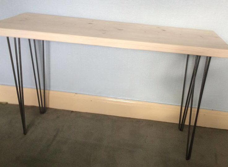 Hall tableConsulTableSolid woodDeskdressing tablUrbanRecycledCustom madeTVstandMade in UKHairpin legsMetal legsSalvagedHallway