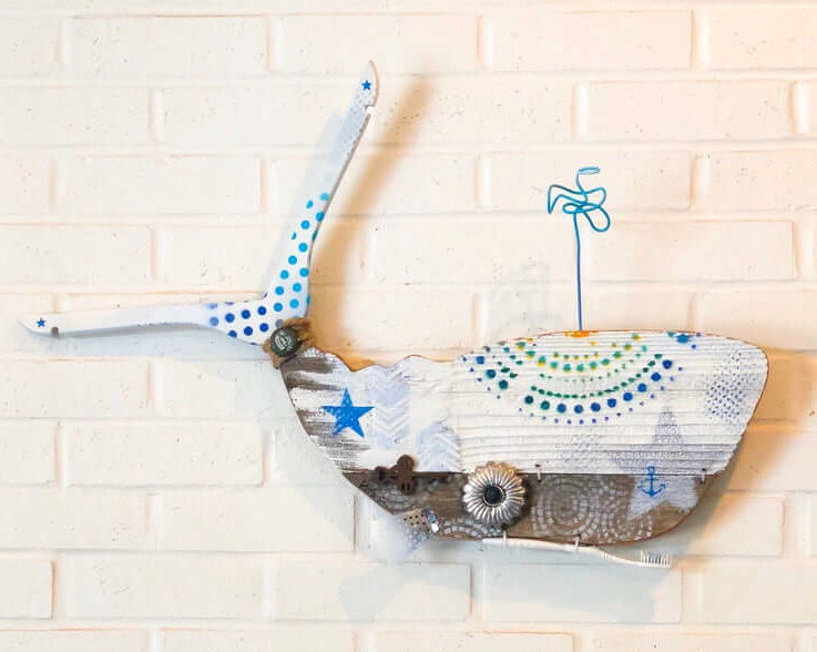 Happy Boho Kohola, Happy Boho Whale, driftwood Wall Art, Reclaimed Wood, White, Silver, Rainbow